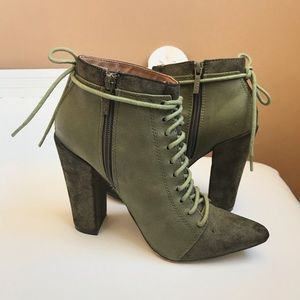 OLIVE GREEN FAUX SUEDE CHUNKY HEEL ANKLE BOOT